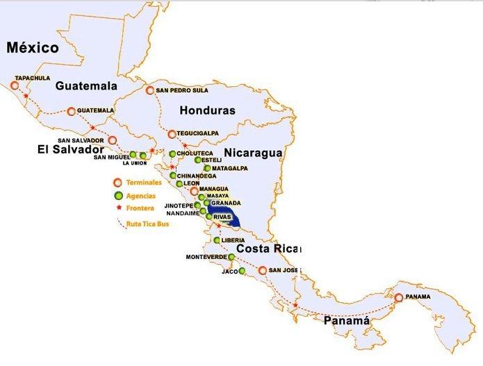 Carte de l'itinéraire suivi, à partir du Honduras