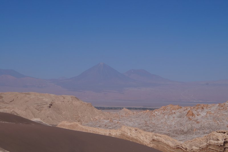 View of the Licancabur Volcano (5916 m) from the Valley of the Moon