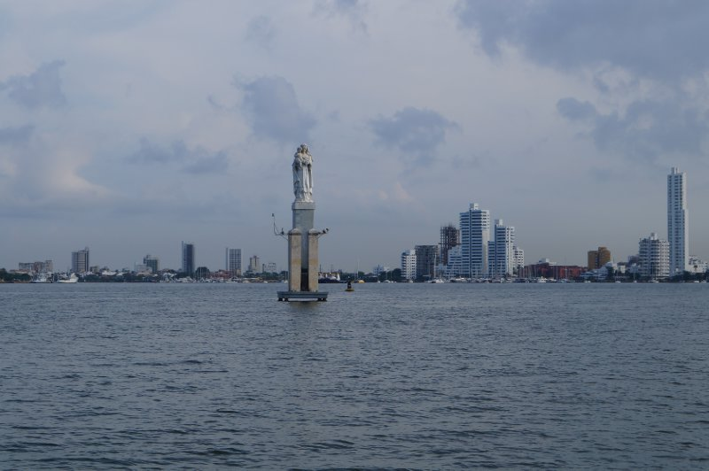 A statue in the middle of the bay, not sure what is represents...
