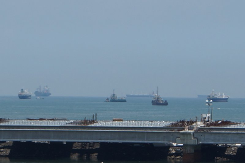Ships waiting to cross the canal