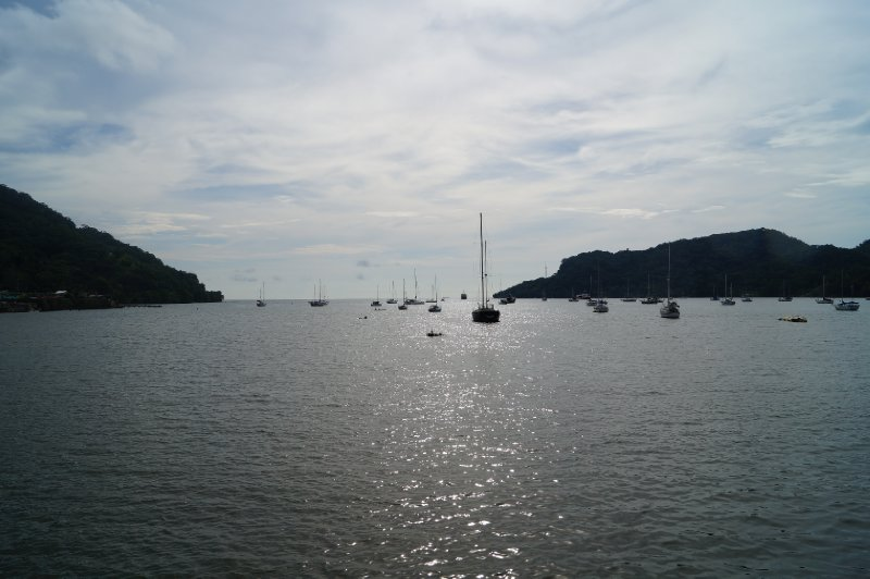 Sailing ships anchored in the bay