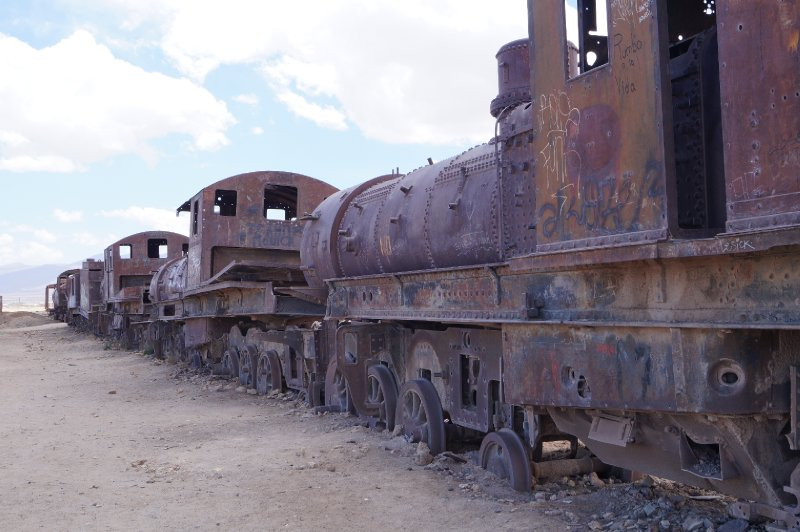 A graveyard of trains near Uyuni
