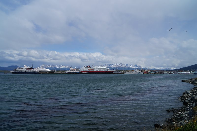 Ships waiting to set off for Antarctica