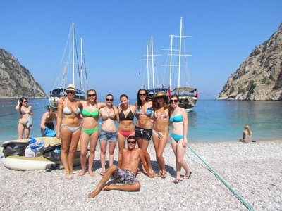 The girls of the boat at Butterfly valley