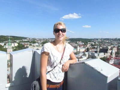 At the top of town hall tower overlooking Lviv