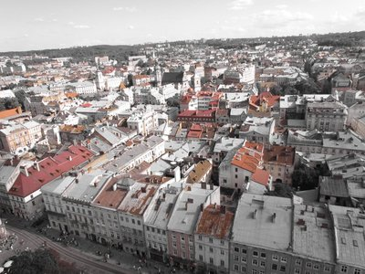 The rooftops of Lviv