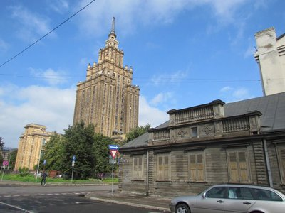 Riga traditional wooden architecture and Stalinist architecture