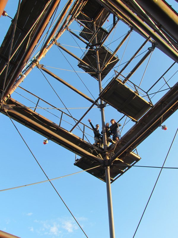 Steve, Roel and Artur climbing the radio tower