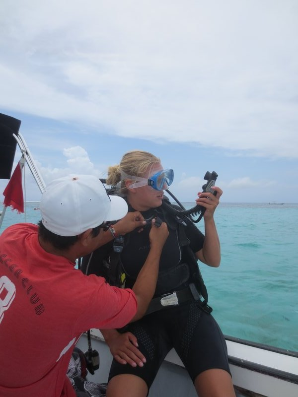 getting ready for our dive