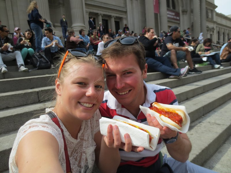 Hot Dogs outside the MET