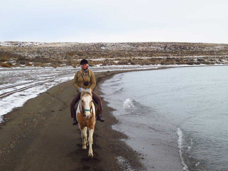 I'm on a horse! on a snowy beach!