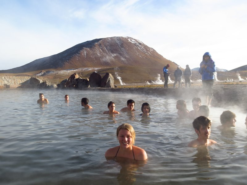 Anna in the thermal baths at the geysers