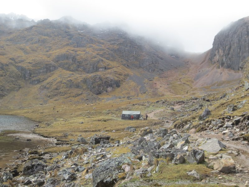 lunch tent, the lake and the descent from the pass