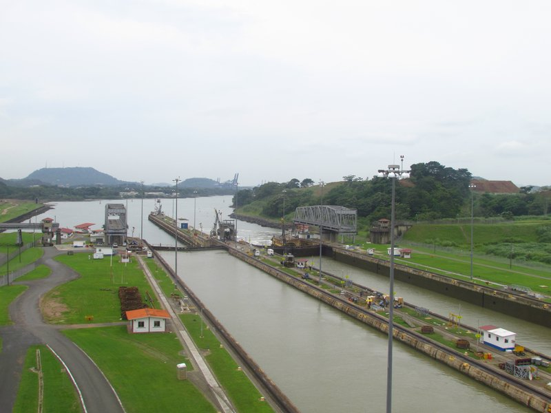 The locks looking towards the Pacific