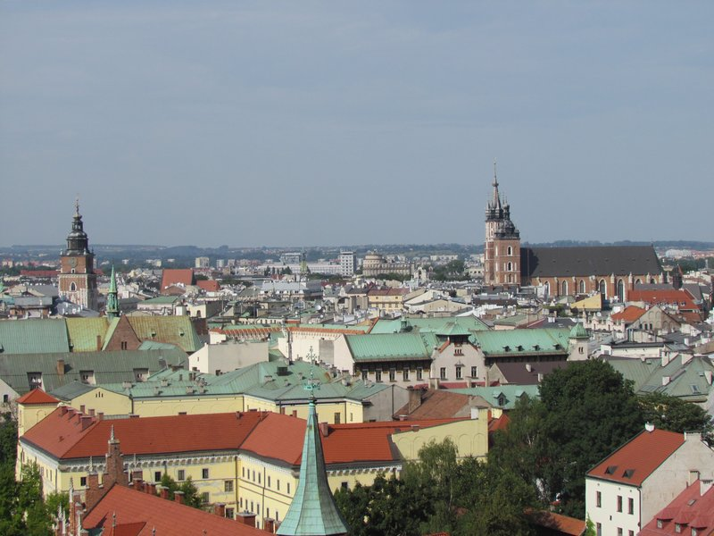 view over Krakow from the cathedral bell tower