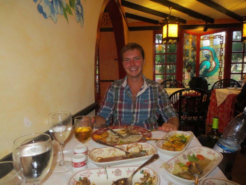 enjoying his birthday dinner
