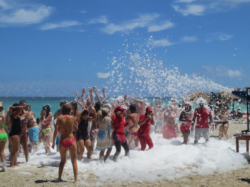 crazy foam party on the beach
