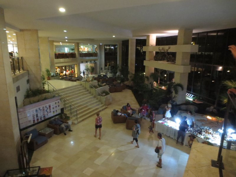 the lower level of the hotel lobby