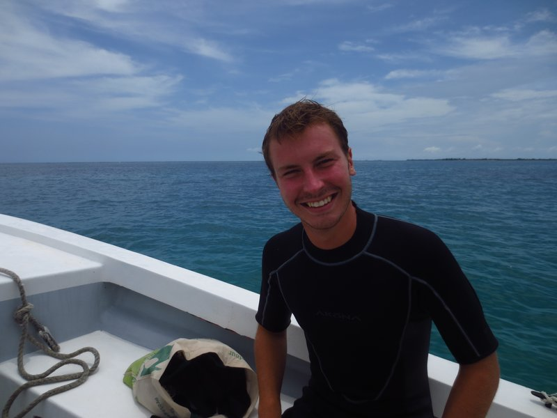 In his wetsuit after the first dive