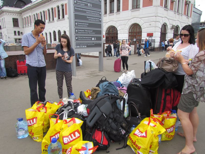 All our gear and food waiting at Moscow station