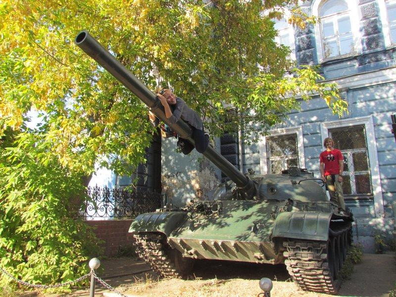 Climbing on a soviet tank
