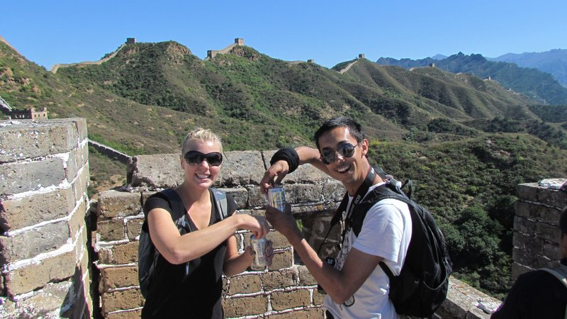 Cracking a beer on the great wall