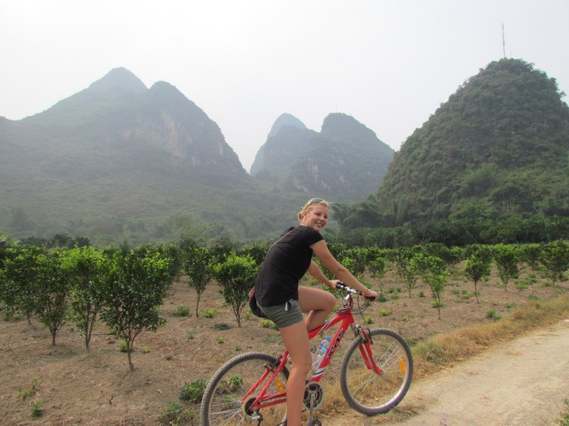 cycling through the fields in Yangshuo