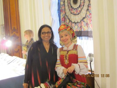 Mala with one of the performing ladies in the Folk Music performance