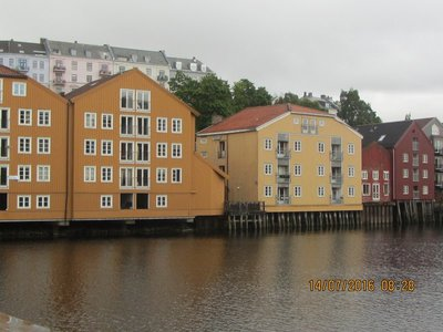 Part of Trondheim's old warehouses on the banks of river Nidelva