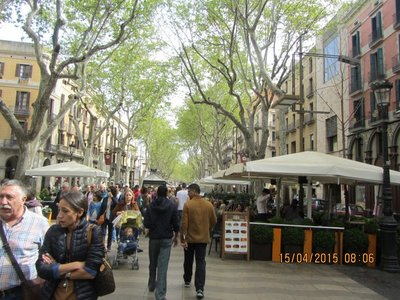 La Rambla Street busy with people