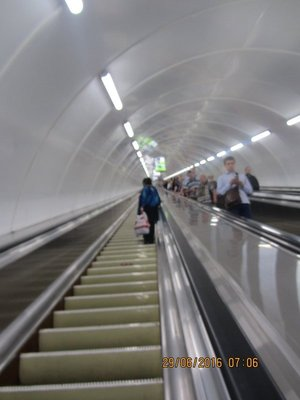 Long Escalator to St Petersburg Metro