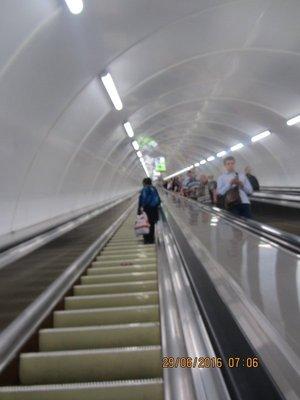 Long Escalator to St Petersburg Metro