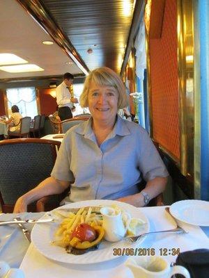 Fiona having breakfast in the cruise ship restaurant
