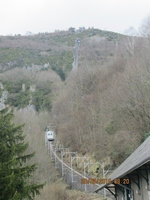 Funicular cabin from a distance