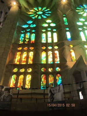 Stained glass windows in the Sagrada familia Basilica