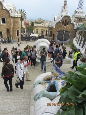 Near the entrance to Park Guell dedsigned by Gaudi