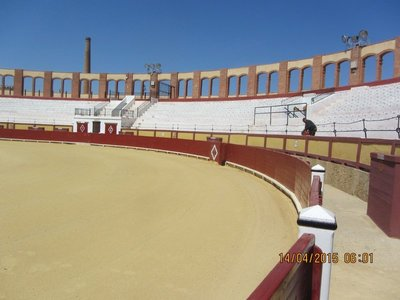 A bull fighting ring on our way to Barcelona