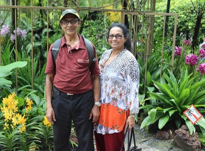 Andrew and Mala visiting Singapore Orchid Graden