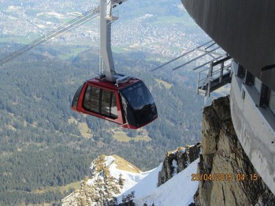 Big Cable car reaching the mountain top station