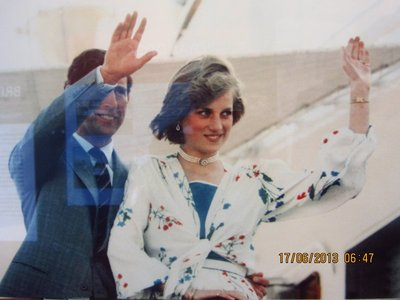 Photo of Charles and Diana, ready to leave for their honeymoon