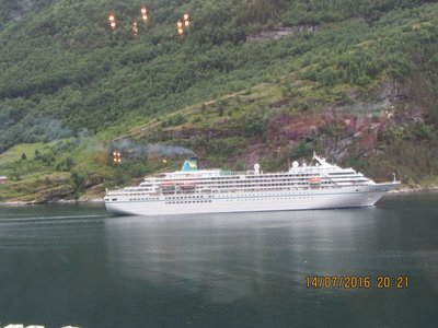 Cruise ship in Geiranger Fjord seen from our hotel room