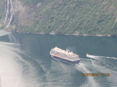 Cruise ship in Geiranger Fjord seen from the viewing point