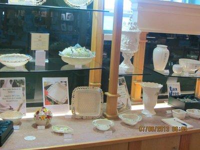 Display of Belleek pottery