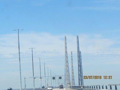Driving on the long Copenhagen bridge