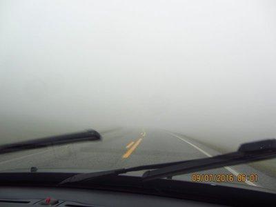Driving through thick fog