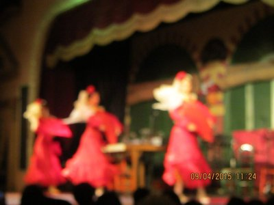Flamenco dancers  in their courful costumes