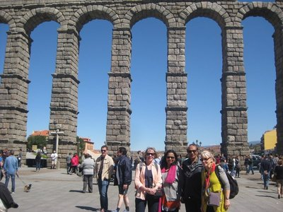 Four of us near Segovia aqueduct