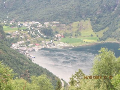 Geiranger town below from the viewing point