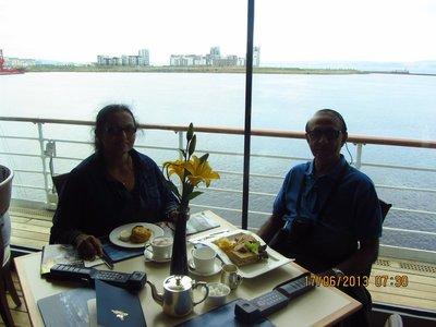 Having tea on Royal ship Britannia