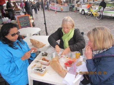Helen, Sue and Mala having breakfast at Bordeaux Sunday Market